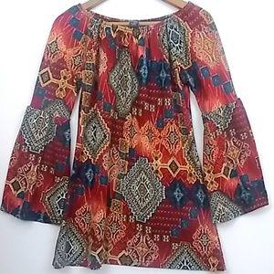 WinWin Bell Sleeve Boho Tunic beautiful bold print